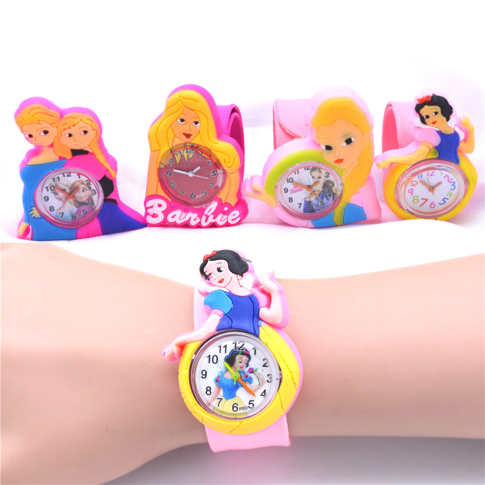 Cartoon Princess Watches For Girls Pink Relojes Rubber Watch Cute Child Gifts Toys Kid Clock