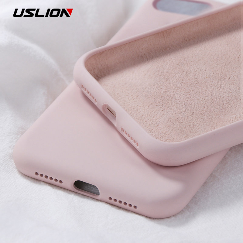 USLION Silicone Solid Color Case For IPhone XS 11 Pro MAX XR X Candy Color Phone Cases For IPhone 7 6 6S 8 Plus Soft TPU Cover