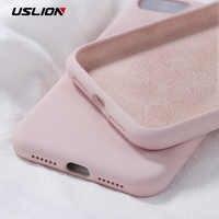 USLION de silicona sólida de Color para iPhone XS 11 Pro MAX XR X XS X Max caramelo cajas del teléfono para iPhone 11 7 6 6S 8 Plus cubierta suave