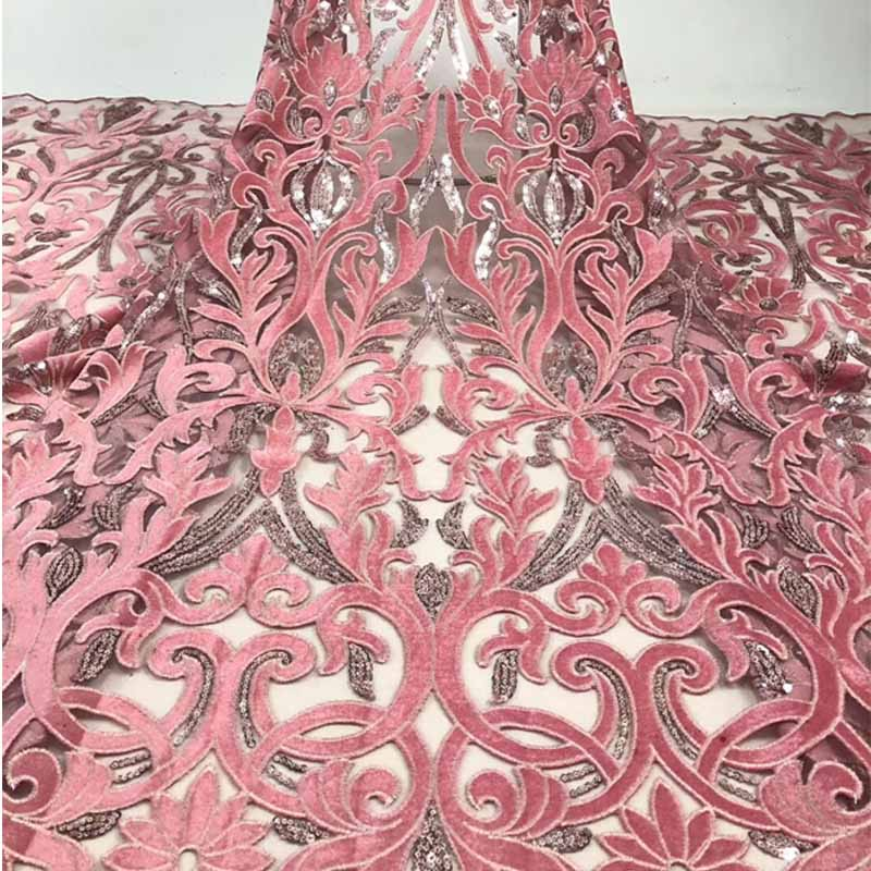 7 Colors Velvet African Lace Fabric Embroidery Sequins Tulle Lace Blingbling Diy Women Dresses Wedding Party Evening Dress
