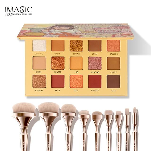 IMAGIC комбинированный набор 15 цветов, тени для век, новый 9 кистей для макияжа, косметика для девочек