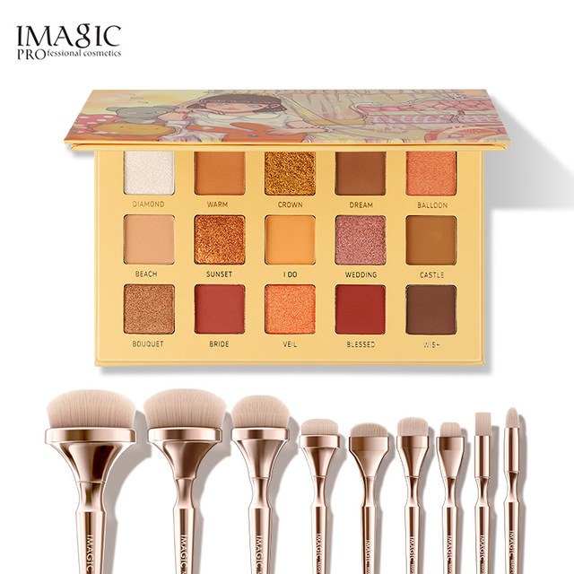 IMAGIC combination set 15 color eyeshadow tray new 9 makeup brush girls beauty cosmetics
