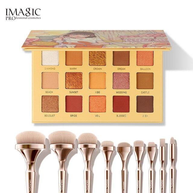 Imagic conjunto de combinação 15 cor eyeshadow bandeja nova 9 maquiagem escova meninas beleza cosméticos