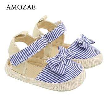 2020 Children Summer Shoes Newborn Infant Baby Girl Soft Crib Shoes Infants Anti-slip Sneaker Striped Bow Prewalker 0-18M