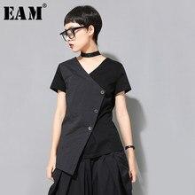 EAM-Camiseta de manga corta con cuello en V para mujer, camiseta con botones negros irregulares de talla grande, moda para primavera y verano, 2021, 1U323