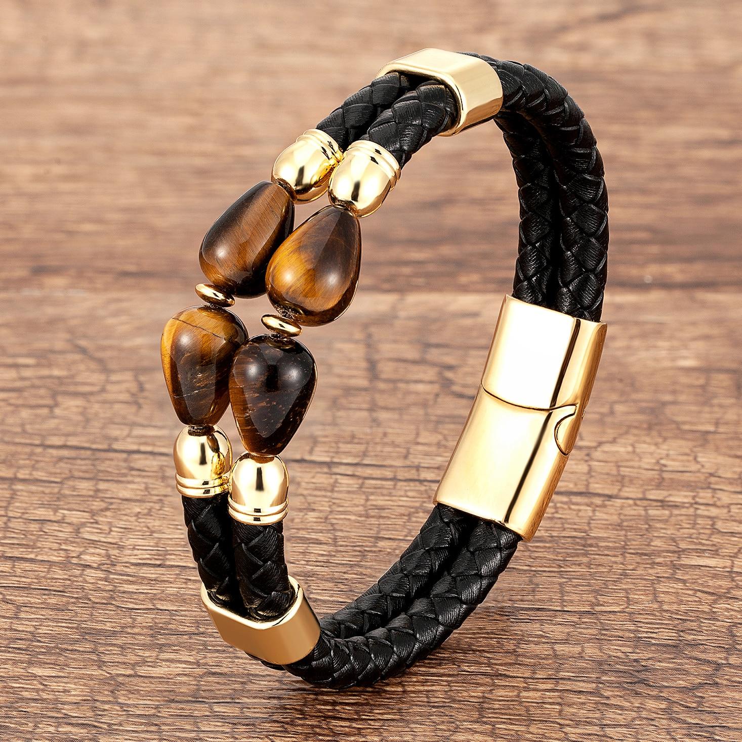 100% Natural Tiger Eye Bracelet Men Charm Multilayer Black Leather Stainless Steel Magnetic Buckle