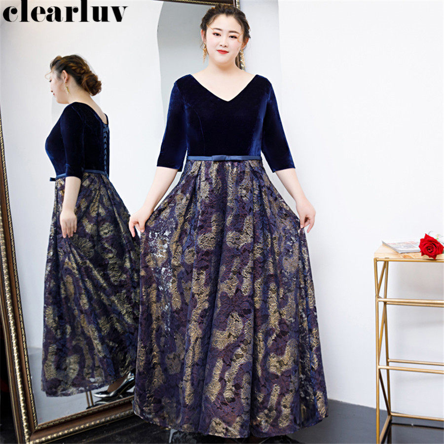 V-Neck Evening Gowns Long Robe De Soiree T328 2019 Plus Size Three Quarter Sleeve Women Party Dresses Embroidered Evening Dress