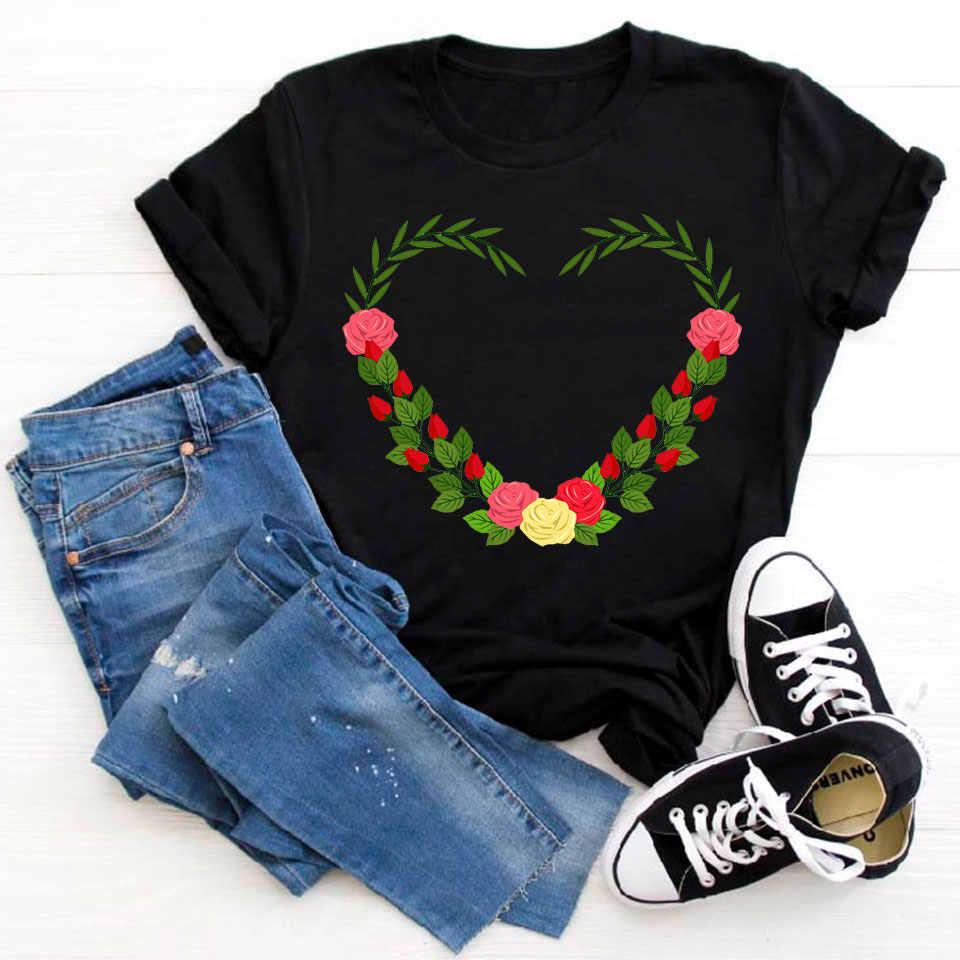 Hart Bloem Tshirt Afdrukken Vrouwelijke T-shirt Harajuku T-shirts Vrouwen Zomer Korte Mouw Casual Kleding Ullzang Harajuku Tee Tops