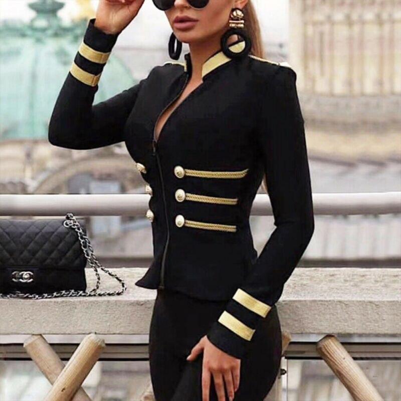 Street Style Women Ladies Coat Jackets Winter Sexy Long Sleeve Black Padded Bomber Jacket Check Zipper Up Biker New