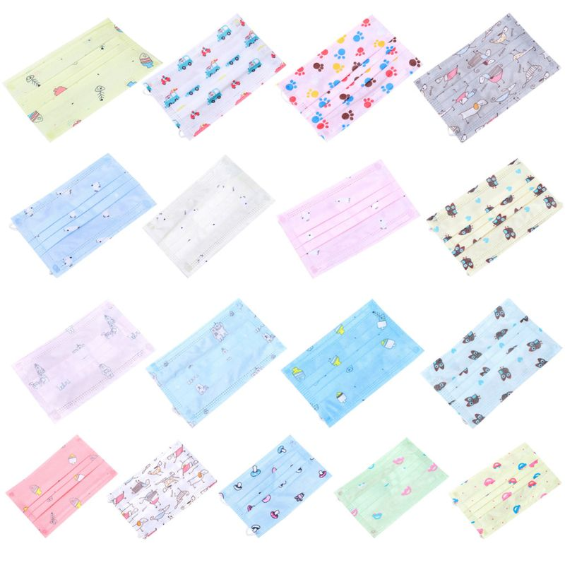 10Pcs/Set Children Kids Disposable Dustproof Mouth Mask 3 Layers Non-Woven Cute Cartoon Animal Car Printed Earloop Respirator