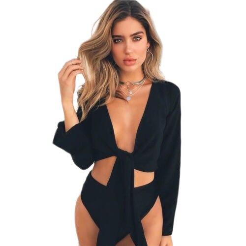 Hirigin 2019 Новое поступление горячие сексуальные женские летние узел галстука укороченный топ женские расклешенные рукава с глубоким вырезом топы