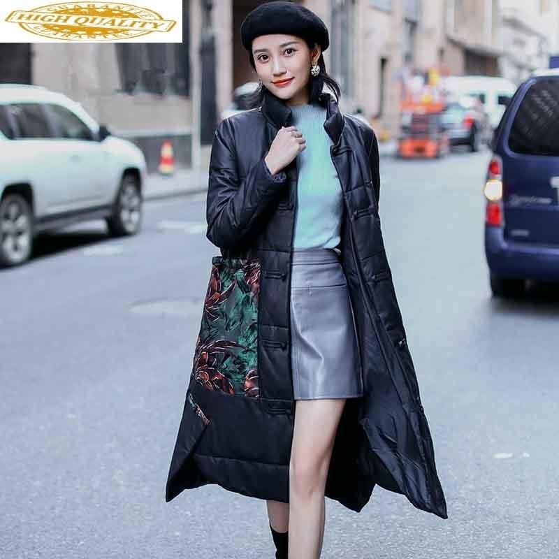 2019 Genuine Leather Jacket Winter Jacket Women 100% Sheepskin Coat Female Korean Long Down Jackets Chaqueta Mujer MY