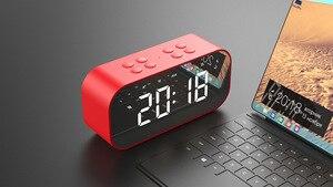 Image 5 - 블루투스 5.0 휴대용 무선 미러 스피커 열 서브 우퍼 음악 사운드 박스 LED 시간 스누즈 알람 시계 노트북 전화 번호