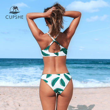 CUPSHE Leaves Print Bowknot Low-waist Bikini Sets Sexy Cut Out Tank Swimsuit Two Pieces Swimwear Women 2020 Beach Bathing Suit 1