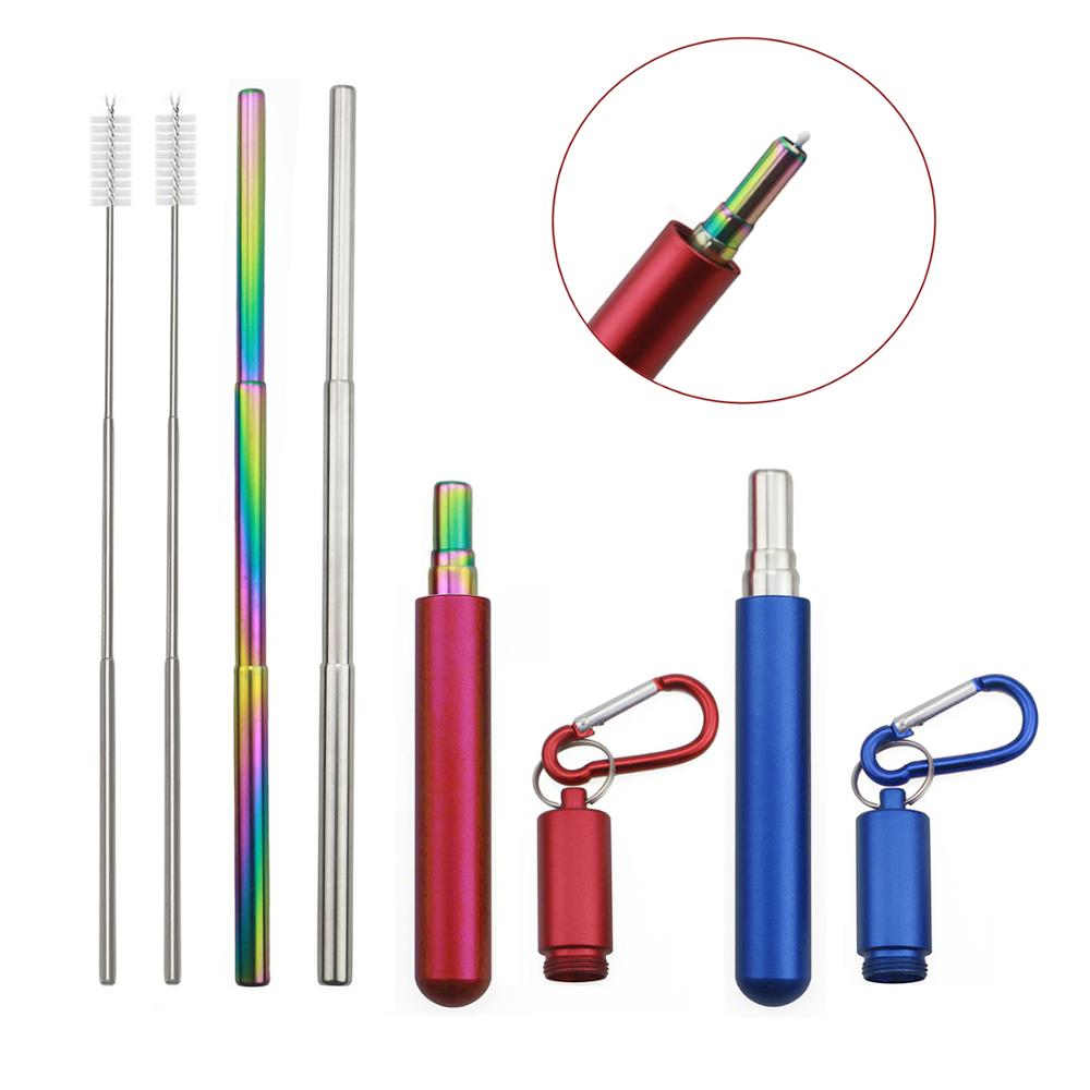 Travel Telescopic Drinking Straw Metal Straw Stainless Steel Cleaning Brush