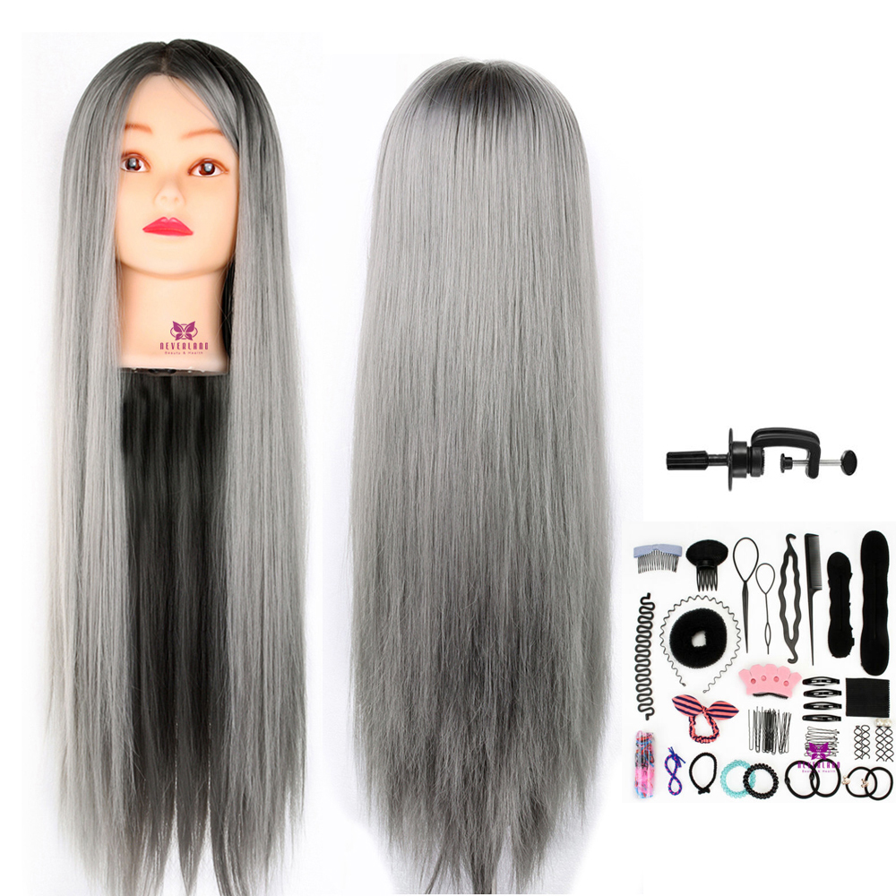 "28"" Mannequin Heads Doll For Hairstyles Practice Grey Color Thick Long Hair Hairdressing Training Manikin Head Model Display"