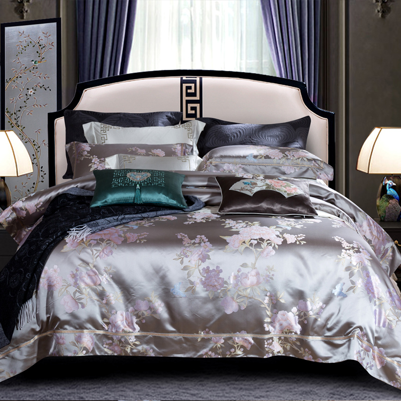 New Chinese Style Real Silk Four Paper Set Villa Send Gifts Product Bedding Article Yarn Dyed 100% Mulberry Silk Suite