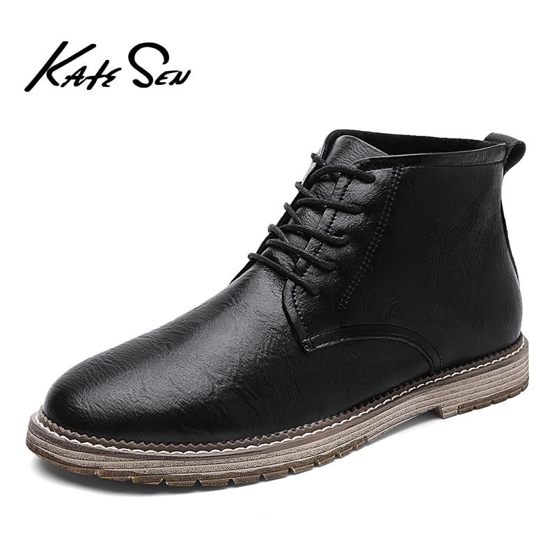 KATESEN New Autumn Men Boots Winter High Tops Man Casual Ankle Boot Comfortable Fashion Men's Shoes Work Plus Size 38-47