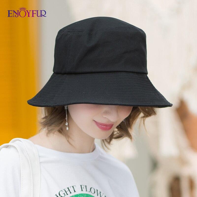 ENJOYFUR Summer Cotton Bucket Hat For Women Hip Hop Outdoor Caps Fishermen Sun Hats