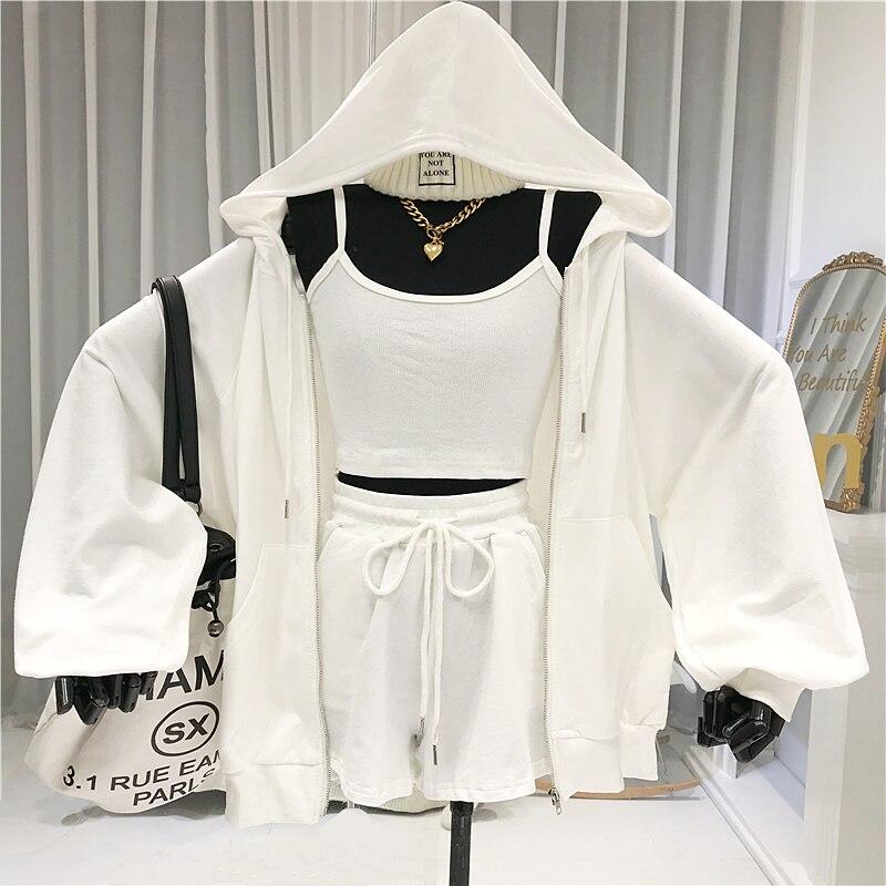 Women 3 Piece Set  Zipper  Hooded  Casual  Womens Sweatsuit  Matching Sets For Women Joggers Suit Sets 2020 Summer