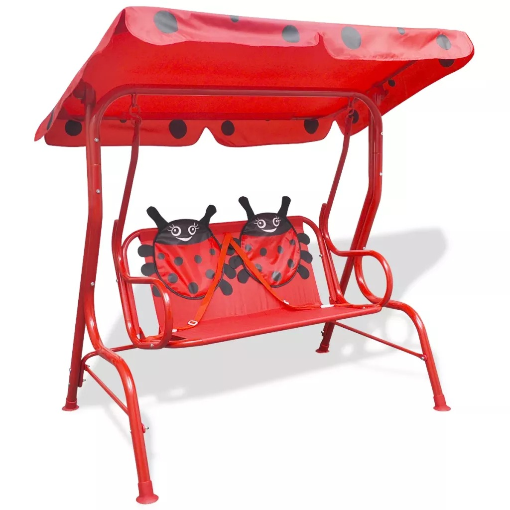 VidaXL Kids Swing Seat With A Sunshade Canopy Easy Assembly Red 115 X 75 X 110 Cm Perfect For Children Outdoor Furniture