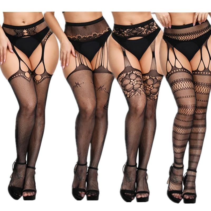 Новое размера плюс сексуальное ажурное для женщин колготки открытая промежность высокая талия Чулки Нижнее белье подвязки ажурные колготк...