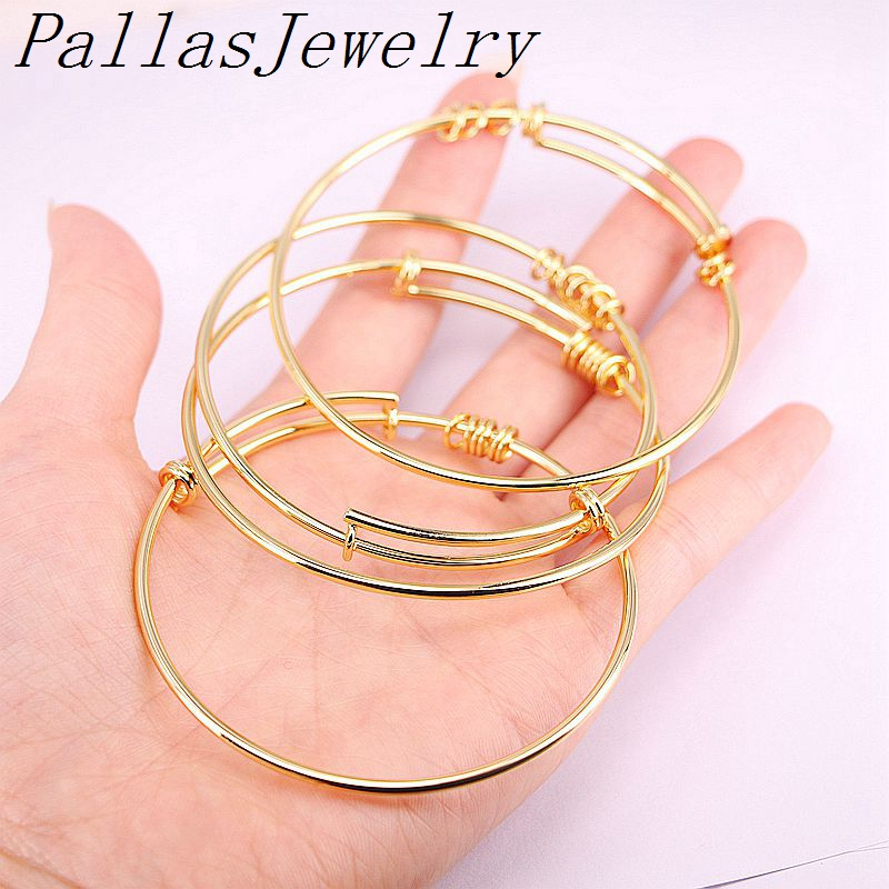 10Pcs Gold Color Charming Expandable Bangles Men Women Lady adjustable bangle Bracelet For fashion gift Charms