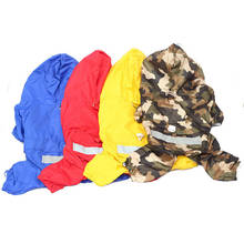 Pet Dog Cat Raincoat Hooded Refective Mesh Breathable Camouflage Waterproof Jacket for Puppy Kitten Sunshade