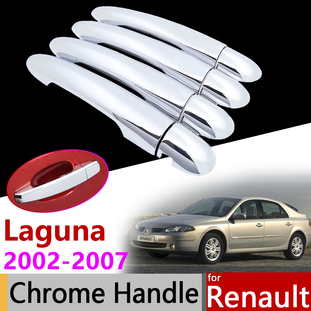 Car Exterior Accessories Door Chrome Handle Cover for Renault Laguna II X74 2002~2007 MK2 Luxury Protective Trim Set Stickers