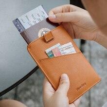 NewBring Leather Passport Cover Travel Wallet Men for Credit Card Checkbook id Holder Ticket Clip Purse Passport Holder Women