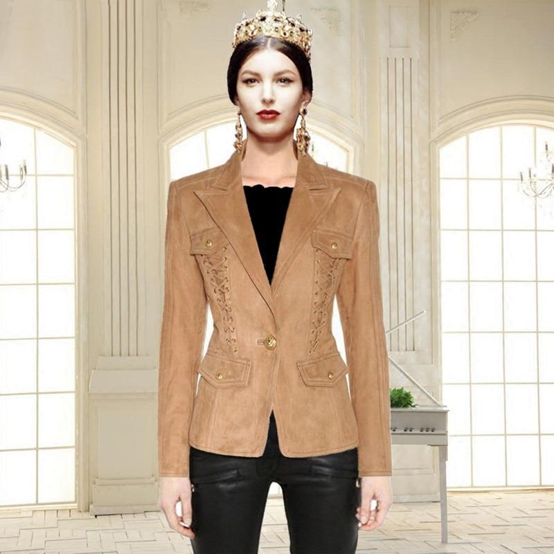 Jackets Blazers Camel JRHYME Luxury Long-Sleeves Elegant Women And Mujer Fabric Lapel