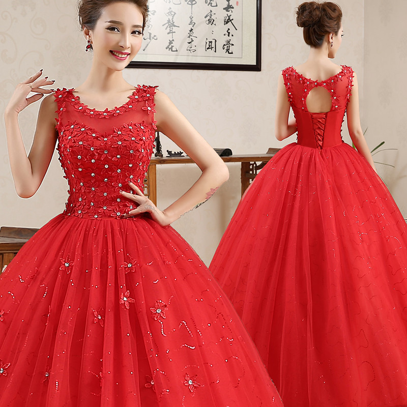 Wedding Party Dress Sexy Red Woman Dresses For Party And Wedding Sleeveless O-Neck Lace Draped Ball Gown Vestidos Mujer 2019