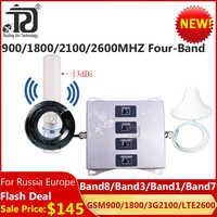 Nowy!! 900/1800/2100/2600 czterozakresowy wzmacniacz komórkowy 2G 3G 4g wzmacniacz sygnału komórkowego LTE WCDMA GSM DCS 4G GSM regenerator sygnału