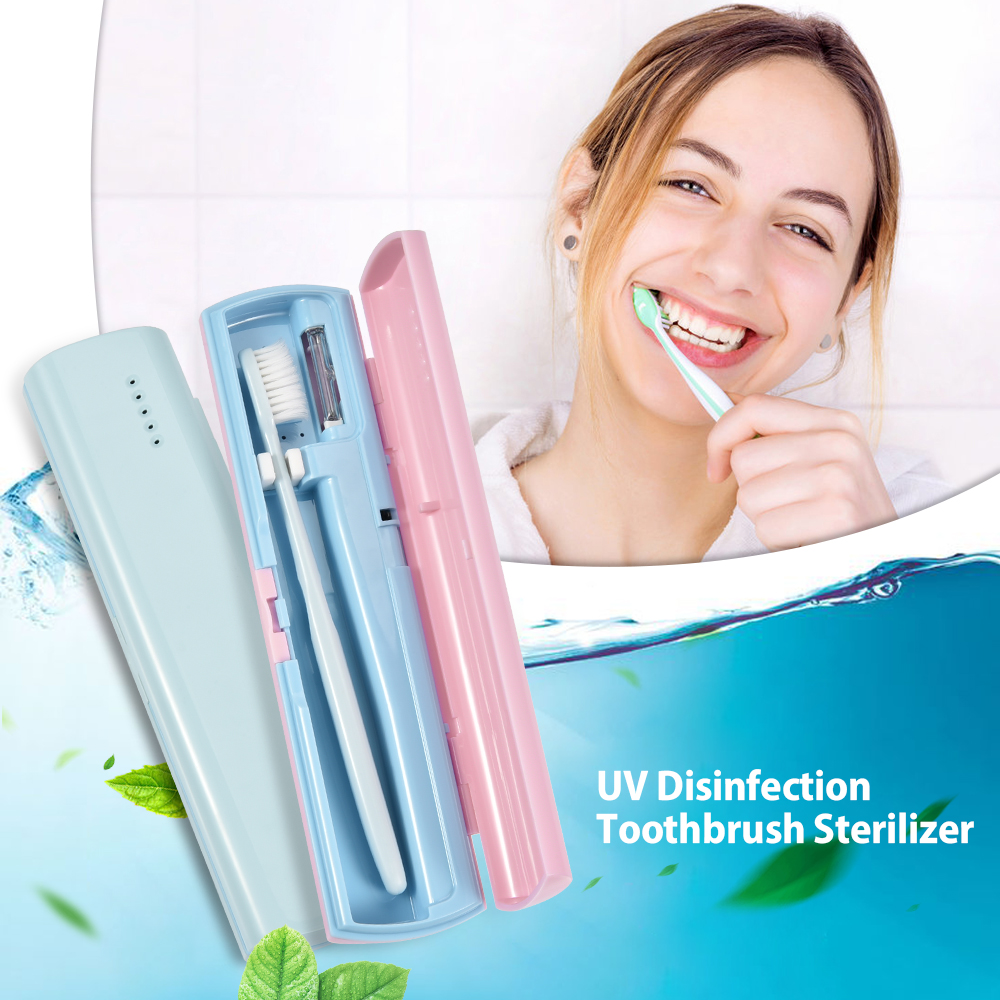 Portable UV Light Toothbrush Sterilizer Led Electric Sanitizer Toothbrush Sterilization Storage Box Travel Case USB Charging image
