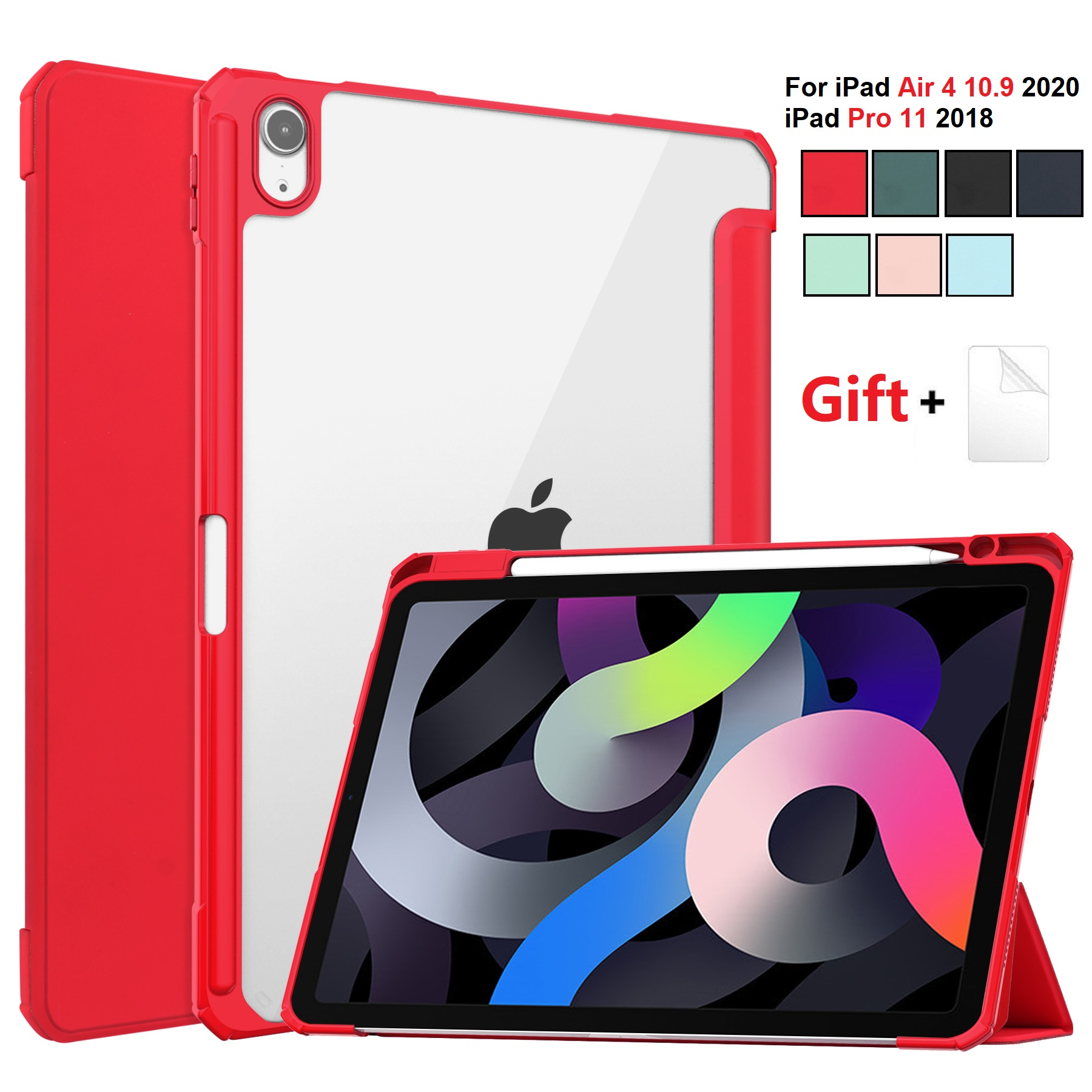 for iPad Air 4 Red Red For iPad Air 2020 Case 10 9 inch Tablet Case 3 folding Cover Funda Auto Wake