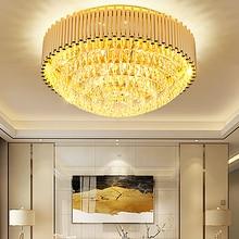 Modern K9 Crystal Ceiling Lights Fixture LED Light Golden Round Lamp Indoor Lighting Dia 40cm/60cm/80cm/100cm
