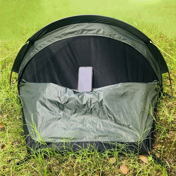 Camping ultralight tent, travel backpack single tent, army green tent 100% waterproof sleeping bag 4