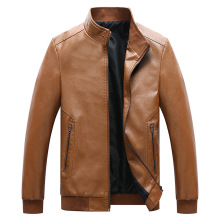 Mens New Water-washed PU Leather Jacket Winter Faux Fur Coats Pu Jackets