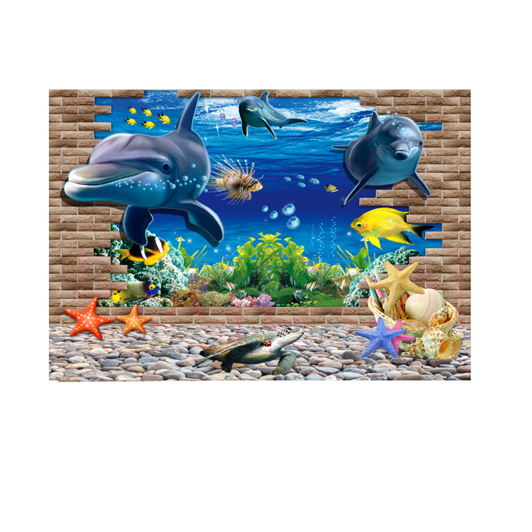 customized aquarium background poster with self adhesive hd 3d ocean fish tank wall decor landscape backdrop
