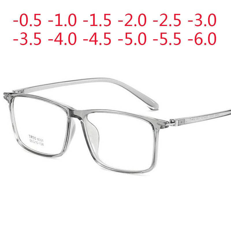 Super Big Square Frame Prescription Eyeglasses Vintage Myopia Glasses -0.5 -1.0 -1.5 -2.0 -2.5 -3.0 -3.5 -4.0 -4.5 -5.0 -6.0