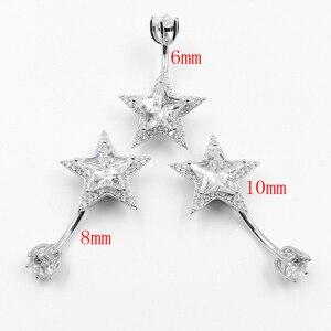 Image 4 - 925 Sterling Zilveren Buik Piercing Ring Star Zirconia Clear Belly Button Ring Voor Vrouwen Lichaam Sieraden