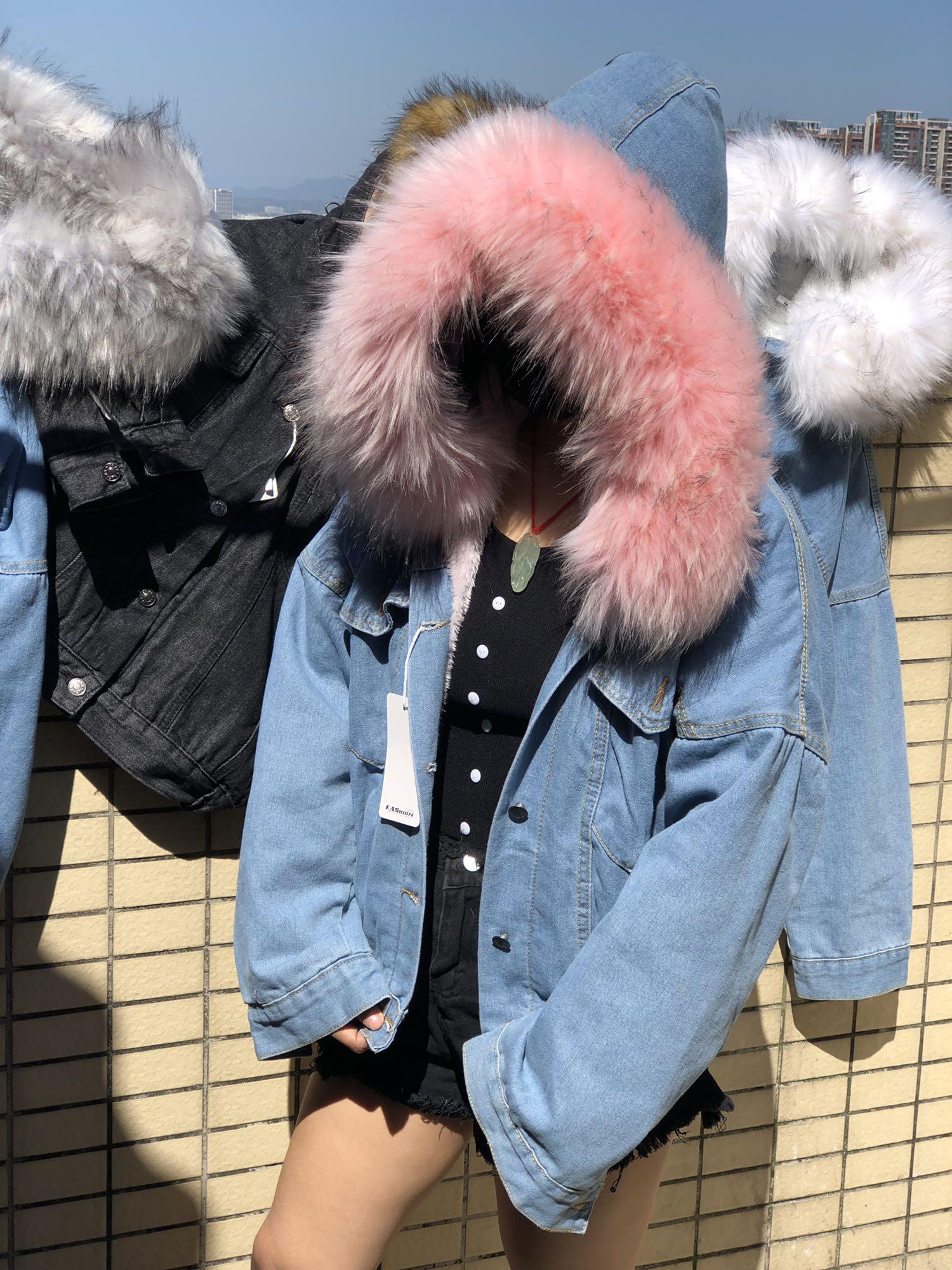 Hfc0447901b4941058ee358e25174e6429 LUZUZI 2019 New Warm Winter Bomber Women Winter Autumn Hooded Girls Coat Jeans Denim Jackets Basic Ladies Top Windbreaker Female