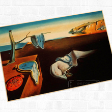 Persistence of Memory Salvador Dali Surrealism Vintage Retro Kraft Poster Canvas Painting W