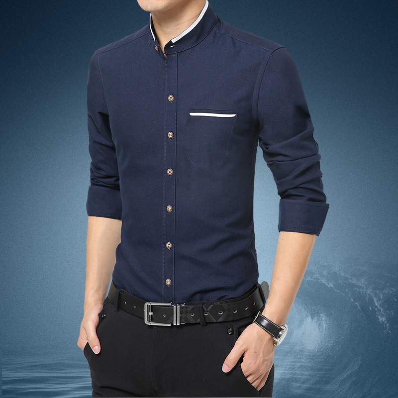 Good Quality Men's Shirts Mens Stand Collar Shirt From Hot Long Sleeve Shirt Casual Dress Shirt Men Clithes Pakistan