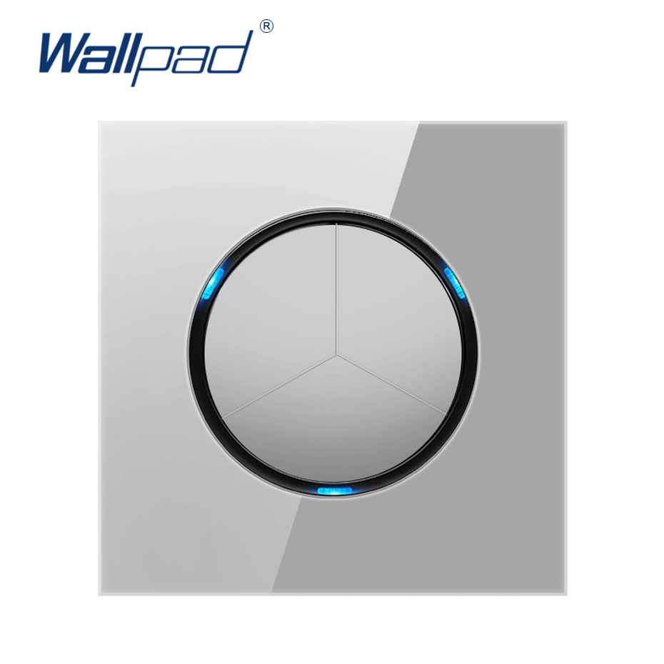 2019 Wallpad 3 Gang 1 Way Random Click Push Button Wall Light Switch With LED Indicator Grey Crystal Glass Panel 16A