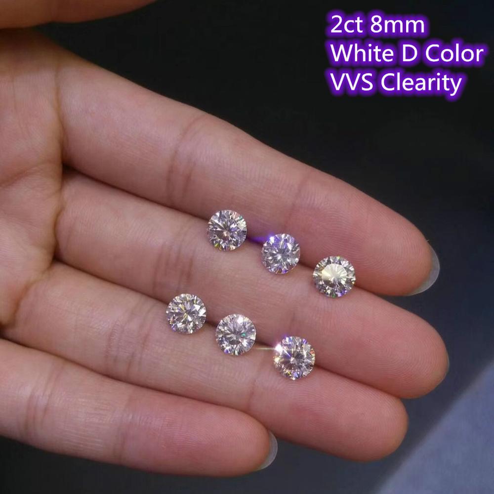 8mm 2ct Carat D Color Moissanites Round Brilliant Cut Loose Stone VVS Diamond Ring Jewelry Pendant Earrings Material