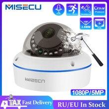 MISECU — Caméra de surveillance dôme intérieure IP PoE HD 2MP/5MP/1080p, avec microphone intégré, service push mail, codec H.265 et protocole ONVIF P2P