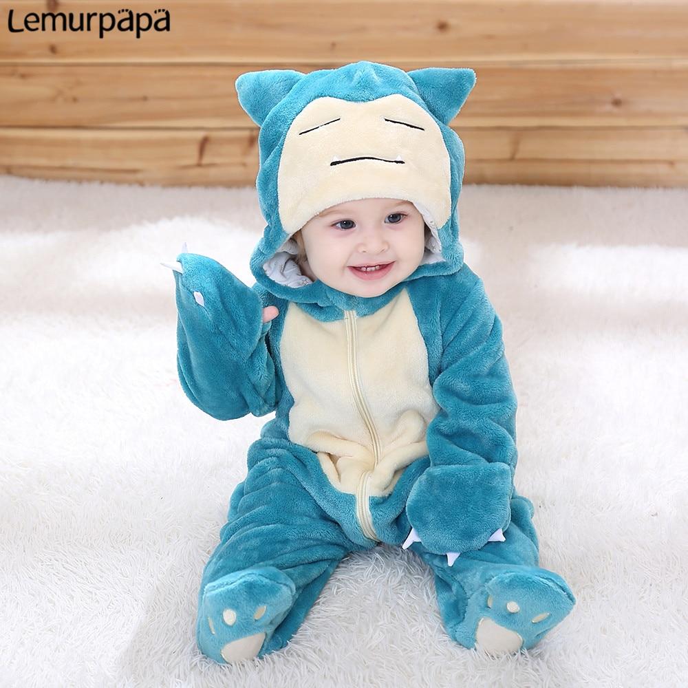 Snorlax Onesie Baby Romper Infant Cute Clothes 0-2 Y NewBorn Boy Girl Klgurumis Cartoon Funny Costume Soft Warm Outfit Ropa Bebe