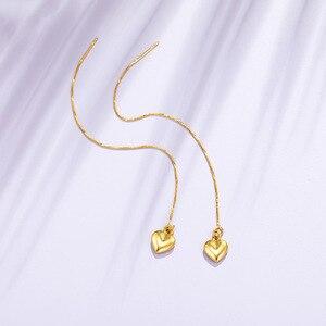 24K Gold Earrings For Women Vintage Heart Drop Earrings for Wedding Engagement Fine Jewelry Earrings Gift boucle d'oreille