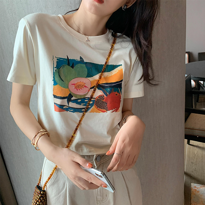 MISHOW 2020 Summer New T-Shirts Women Printed Casual Tops O-Neck Short Sleeve Basic Tee Female Clothing MX20B3136